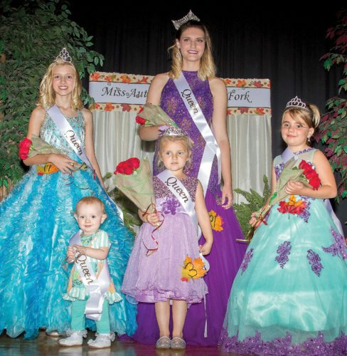 Submitted photo The Autumn on the Dryfork pageant took place Oct. 12 at the Harman School gymnasium. Winners include, first row, from left, Wee Miss Queen Lettyauna Nelson, Tiny Miss Queen Allison Cooper and Little Miss Queen McKenna Taylor; and back row, from left, are Junior Miss Queen Tessa Propst and Miss Autumn on the Dryfork Alison Warner.