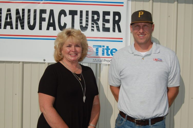 Submitted photo LifeTite Metal Products and Bialek Insurance are the Barbour County Chamber of Commerce Members of the Month in October. Karen Bialek, left, is the owner of family-owned Bialek Insurance. Josh Koepsel, right, is the manager of the LifeTite Metal Products plant in Belington.