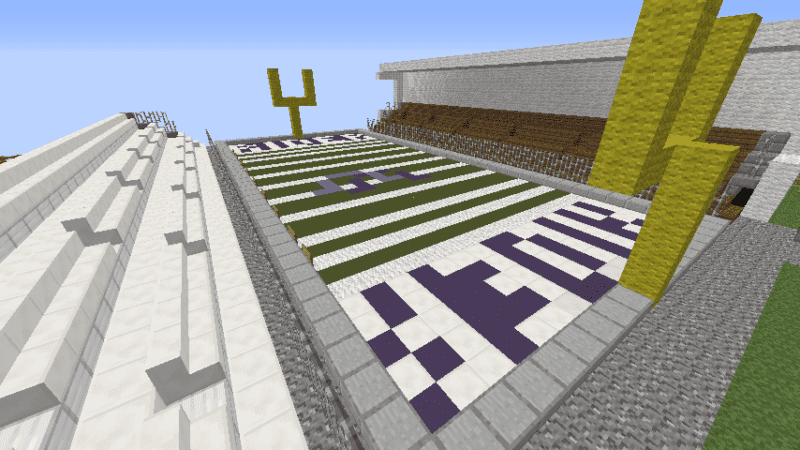 The completed product submitted by Matins Ferry middle school students proudly sits in the virtual world of Minecraft. The virtual reconstruction of Purple Rider Stadium helped the students win the contest.