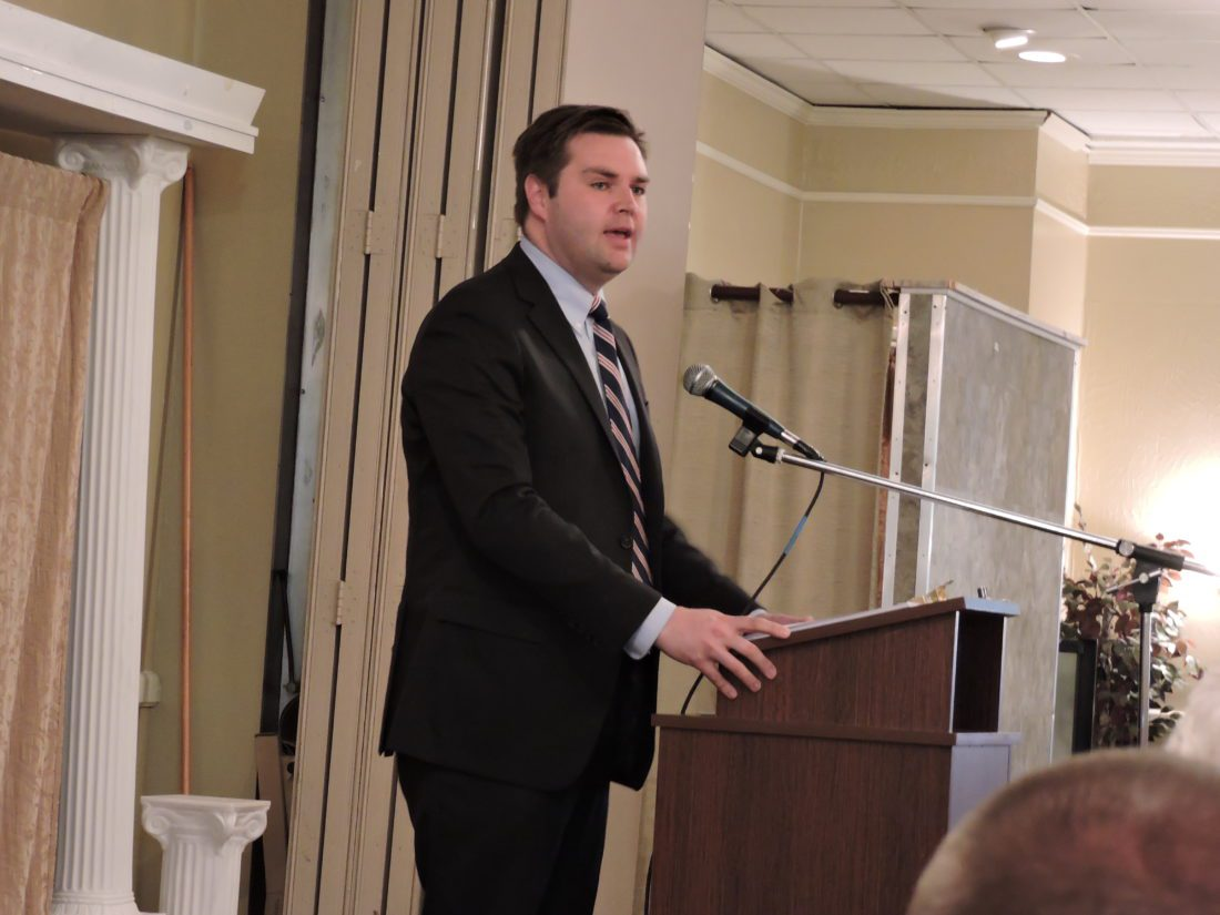 "T-L Photo/JANELL HUNTER Bestselling author J.D. Vance talks to local, state and federal GOP representatives about achieving the ""American dream"" at the Belmont County Lincoln Dinner at Undo's in St. Clairsville on Wednesday."