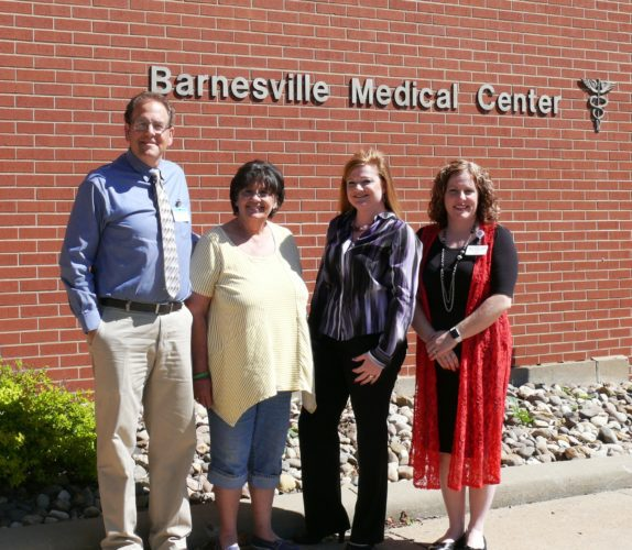 Photo Provided  Members of the            Addiction Services of Ohio Team, from        left, Joseph Jeffries, R.Ph., pharmacy       director, Barnesville       Hospital; Shelley          Campbell, secretary,  Crossroads Counseling  Services; Debbie    McGlothlin, therapist, MSW, LISW,           Crossroads Counseling  Services; and Megan Britton, FNP-BC,           Belmont  Professional Associates.