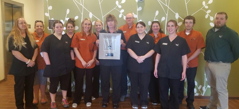 Photo Provided The staff from Sleep Inn & Suites Belmont/St. Clairsville is honored with the 2017 Platinum Hospitality Award from Choice Hotels International Inc.