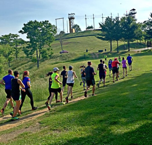 Photo provided RUNNERS climb a hill during a past Founding Father's race.