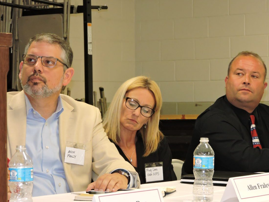 Photo by Casey Junkins Participating in a panel discussion about how drug addiction is affecting Ohio on Tuesday at the Noble County Community Center in Caldwell, from left, are Noble County Chamber of Commerce Executive Director Allen Fraley, county Department of Job and Family Services Director Mindy Lowe, and Caldwell Exempted Village School Superintendent Kacey Cottrill.