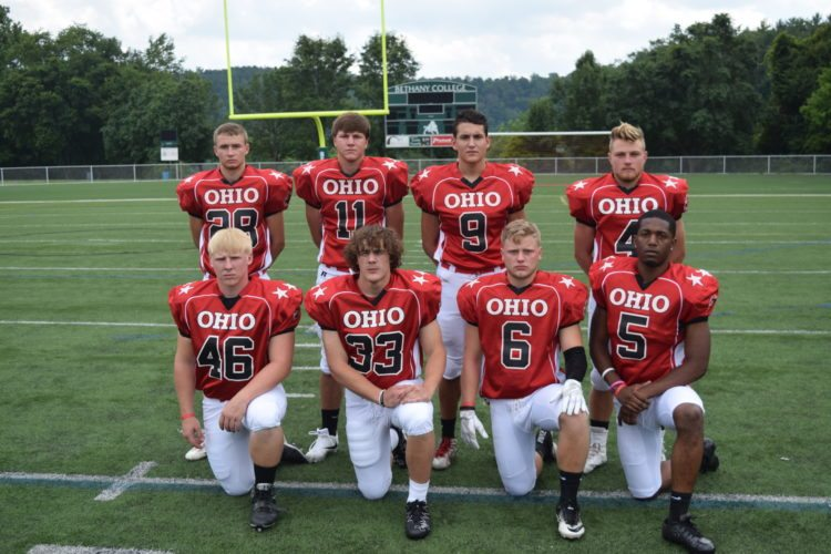 T-L Photo/SETH STASKEY PICTURED ARE the Ohio linebackers and defensive backs for Saturday's 72nd annual OVAC Rudy Mumley All-Star Football Game. Kneeling, from left, are Cody Saksa (River), Zane Zimish (Steubenville), William Lowe (Cambridge) and Jalen McGhee (Steubenville). Standing, from left, are Danny Zdinak (Toronto), Billy Johnson (Shadyside), Zach Bigelow (St. Clairsville) and Troy Pontius (Buckeye Trail).