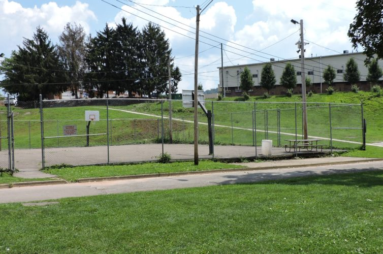 T-L Photo/SHELLEY HANSON THE BETTY Zane Days basketball tournament will not be held inside the City Park courts, shown here in Martins Ferry, because the beer garden wagon will be situated there.