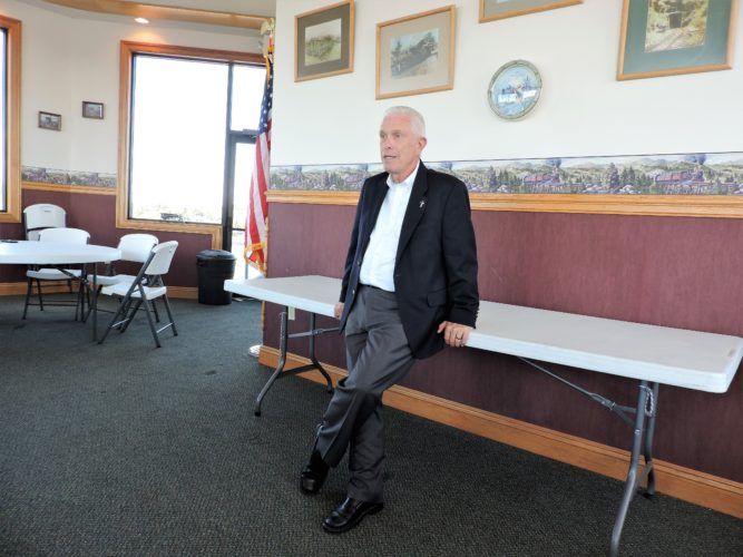 T-L Photo/JANELL HUNTER/ U.S. Rep. Bill Johnson, R-Ohio, speaks with Monroe County residents Tuesday at a roundtable event hosted by the Monroe County Chamber of Commerce.