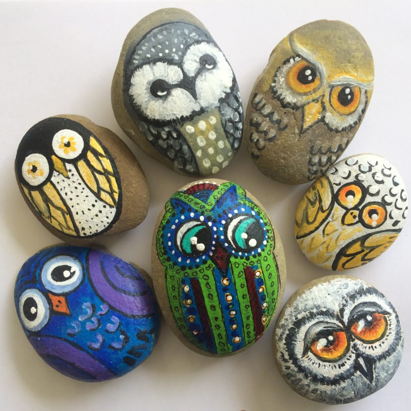 T-L Photo/ROBERT A. DEFRANK As part of a library levy campaign, rocks painted with owls will be hidden around St. Clairsville labeled with links to information about the proposed additional levy for the library's current expenses, due to cuts in state funding.