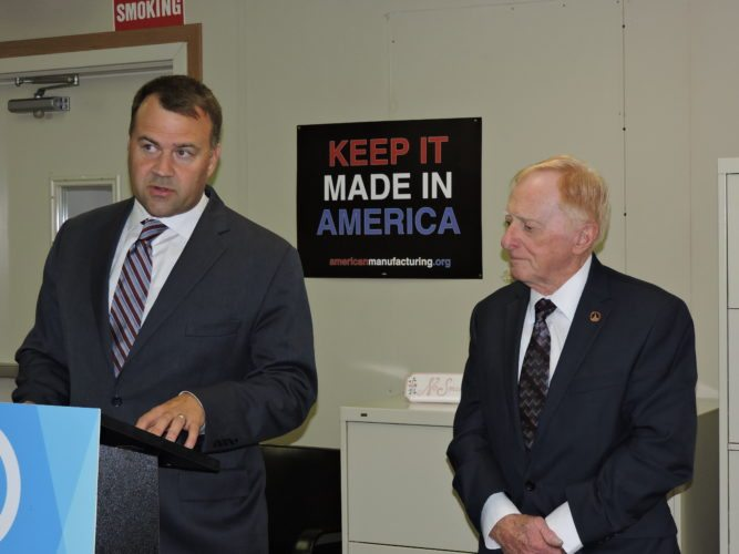 T-L Photo/SHELLEY HANSON OHIO DEMOCRATIC Party Chairman David Pepper, left, and Belmont County Democratic Party Chairman Phil Wallace hold a press conference Monday in Martins Ferry.