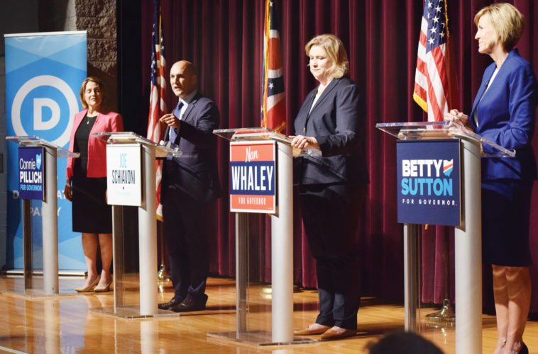 Photos by Scott McCloskey Ohio Democratic gubernatorial candidates meet for their first debate Tuesday at Martins Ferry High School, from left, are former state Rep. Connie Pillich; Ohio Sen. Joe Schiavoni, D-Boardman; Dayton Mayor Nan Whaley; and former U.S. Rep. Betty Sutton.