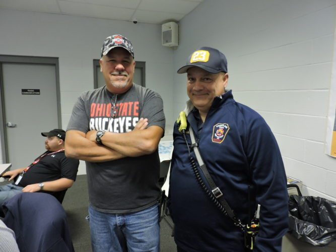 T-L Photo/JANELL HUNTER Belmont County EMA Director Dave Ivan and Cumberland Trail Fire District Chief John Slavik discuss emergency preparedness at a tabletop exercise at the Belmont County EMA office on Thursday.