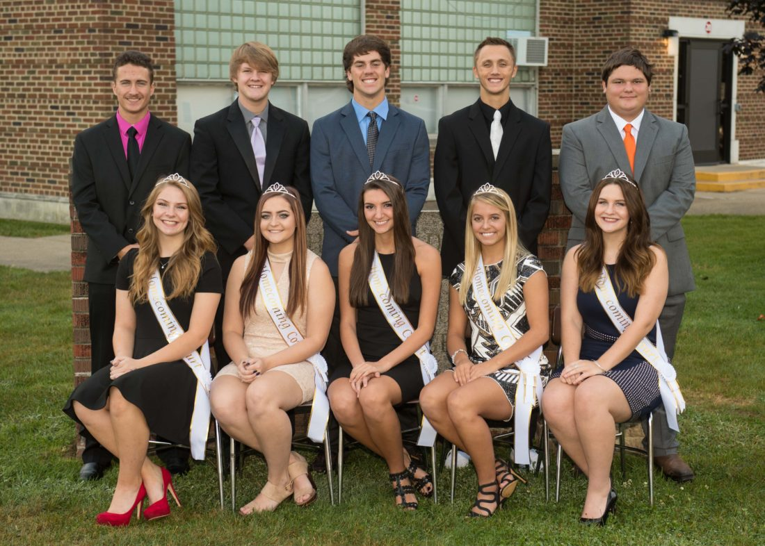 SHOWN HERE is Shadyside High School's 2017 Homecoming Court. Seated, from left, are queen candidates Mackenzie Osman, Mackenzie Darrah, Jess Cicogna, Kaitlyn Weaver and Jaelyn Greenwood. Standing are king candidates, from left, Colton Selmon, Bryce Tiger, Alex Krupa, Colton Stutzman and Richard Francis. Shadyside will play Caldwell on Friday during its homecoming football game.
