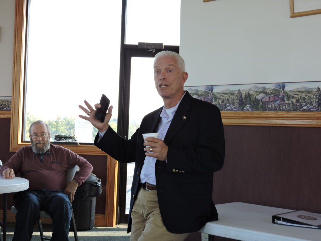 T-L Photo/JANELL HUNTER U.S. Rep. Bill Johnson, R-Ohio, speaks to a group of local officials at a roundtable discussion on expanding broadband access to rural areas on Tuesday at the Monroe County Chamber of Commerce.