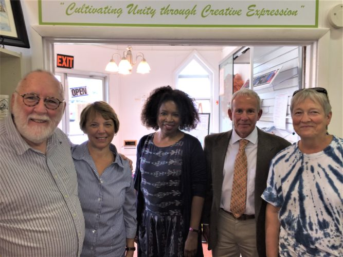 Appalachian folk artist Russ Childers, from left, Switzerland of Ohio Local School District grant writer Diane Burkhart, Arts Learning Programs Coordinator for the Ohio Arts Council Chiquita Mullins Lee, Monroe County Commissioner Mick Schumacher and Appalachian folk artist Barb Childers gathered at the Monroe County Arts Council in Woodsfield on to discuss an artist-in-residency program to instruct Monroe County students about Appalachian culture.  T-L Photo/JANELL HUNTER