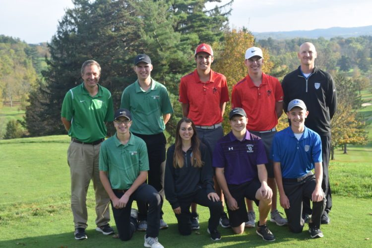 PICTURED IS the 2017 All Times Leader Golf Team. Kneeling, from left, are Payne Johnson (Barnesville), Angela Sommer (Bridgeport), Luke Krol (Martins Ferry) and Clint Heavilin (Harrison Central). Back row, from left, are coach Jerry Robinson (Barnesville), Davey Wells (Barnesville), Jacob Jeffries (St. Clairsville), Brendan Vucelich (St. Clairsville) and coach Todd Dunlap (Harrison Central).