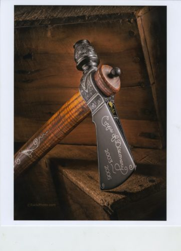 Photos provided ABOVE: Larry A. Parker engraved this Lewis and Clark tomohawk, one of 30 such pieces in existence.