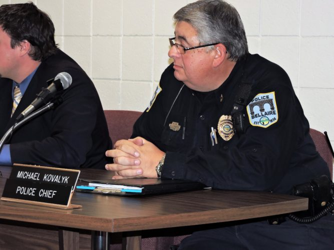 T-L Photos/SHELLEY HANSON ABOVE: BELLAIRE POLICE Chief Mike Kovalyk proposes to village council that it consider contracting with a company that uses traffic cameras to catch speeding motorists with 60 percent of the fines coming back to the village. East Liverpool, he said, makes $70,000 a month via the traffic cameras.