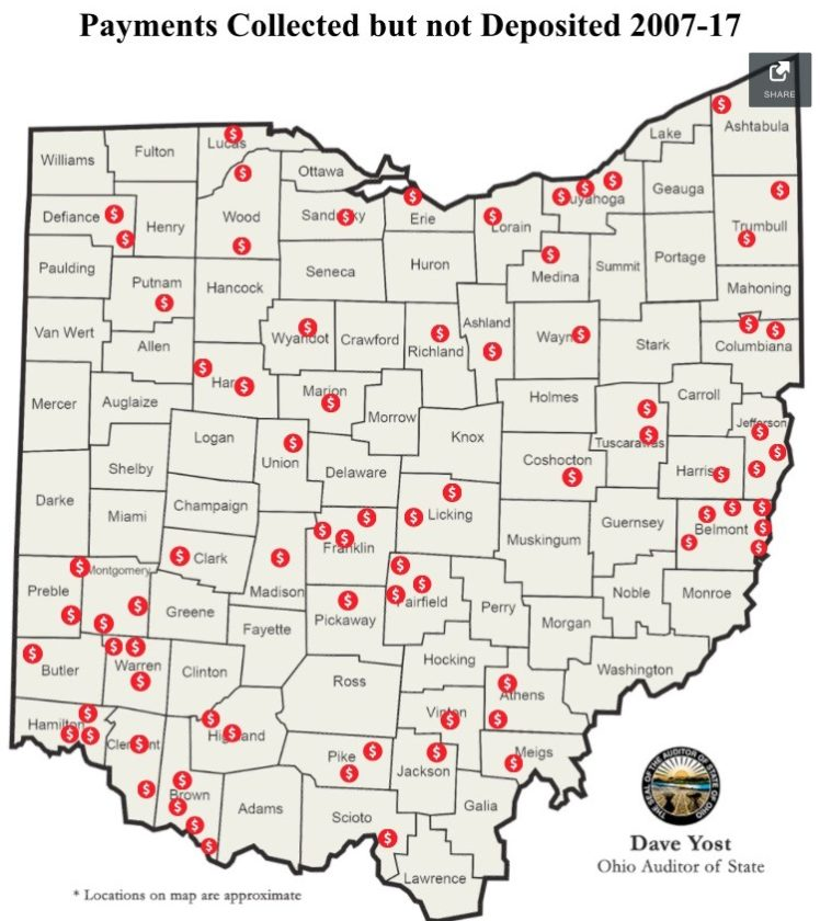 Photo provided A graphic from a new report by Ohio Auditor Dave Yost shows the areas where local government employees have been found to have collected public money but failed to deposit it.