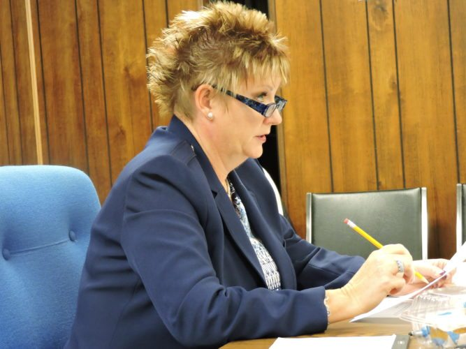 Buckeye Local School District Superintendent Kim Leonard speaks at a meeting on Monday. The school board approved an additional year contract for Leonard at Monday's meeting.    T-L Photo/DYLAN McKENZIE