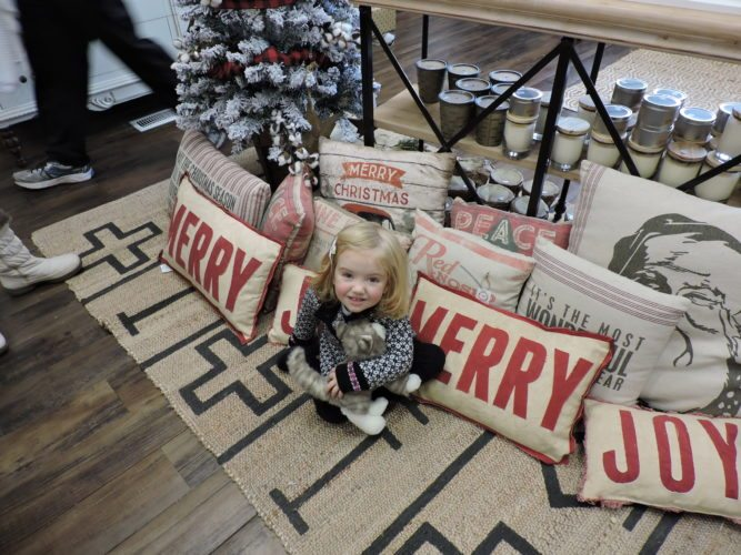 T-L Photo/JENNIFER COMPSTON-STROUGH Ellie Hartle, 2, snuggles up among the colorful holiday-themed pillows on sale at the Timeless Charm shop on Main Street in St. Clairsville during a shopping trip with her mother on Small Business Saturday. Ellie is the daughter of Melissa Ceo and Gavin Hartle of Wheeling.