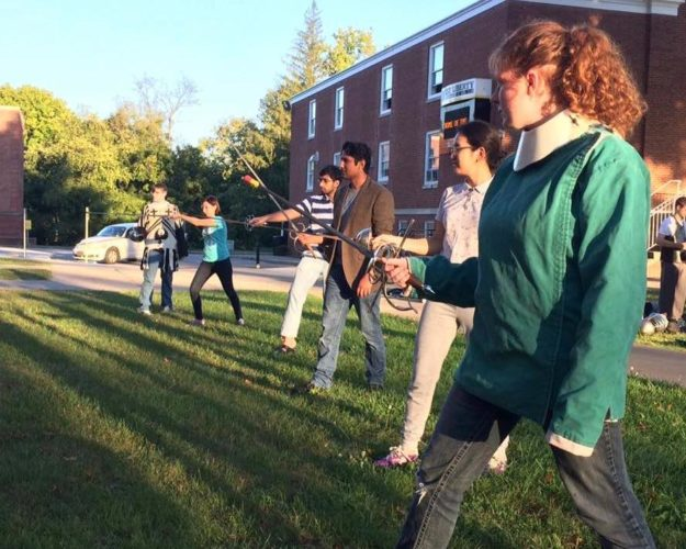 Photo provided STUDENTS PRACTICE fencing moves. From left are Sam Harris, Natasha Muhametzyanova, Usama Azhar, Abdul Subhan, Anna Mukhlaeva and Tiana Knowlton.