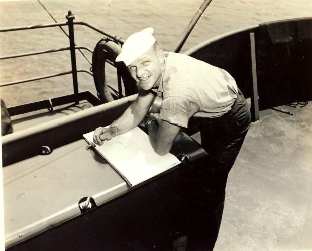SHERMAN GROENKE sketches while on a Coast Guard ship during World War II.