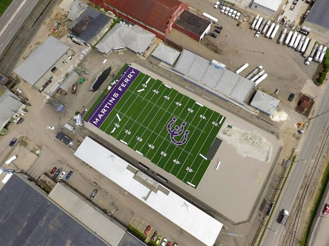 Photo provided AN AERIAL view of the turf being replaced at Martins Ferry's football field is shown here.