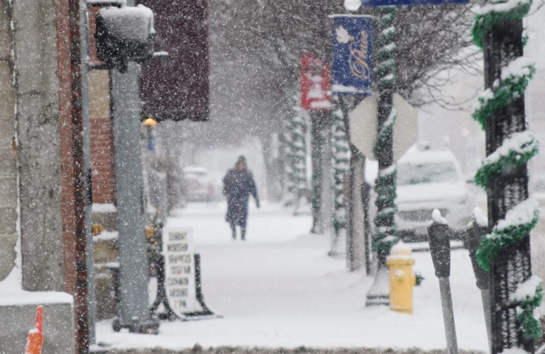 T-L Photos/SHELLEY HANSON A woman can barely be seen walking on Fourth Street in Martins Ferry through the snowflakes during Monday's winter storm.