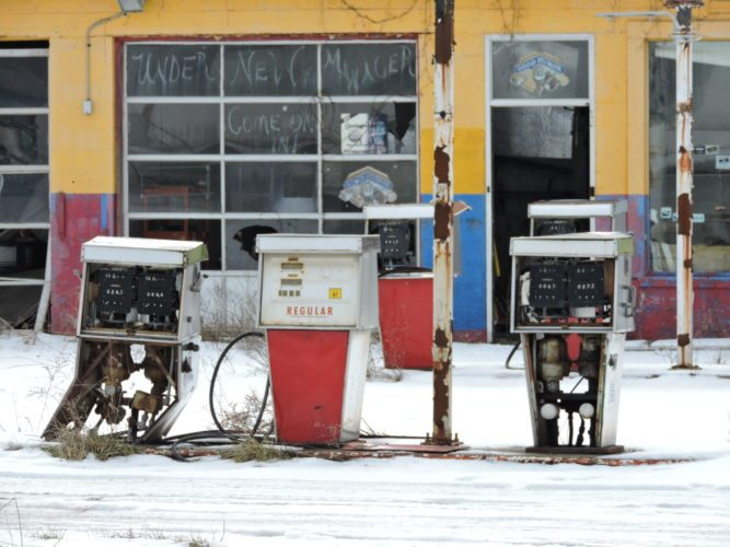 T-L Photo/DYLAN McKENZIE  A row of dilapidated gas pumps sits at the former Tappan Lake Truck Stop on Cadiz-Dennison Road. The county is concerned that the underground gas tanks may be leaking into the surrounding ground; they plan on having an environmental group come in to evaluate the site and clean up the property.