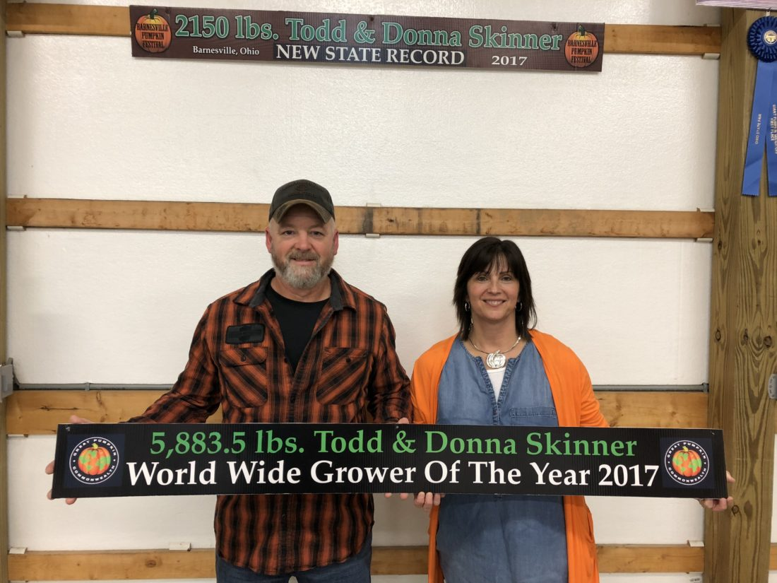 Todd and Donna Skinner of Barnesville celebrate after being named the 2017 World Wide Great Pumpkin Commonwealth Grower of the Year.