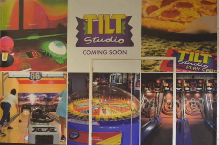 T-L Photo/MIRANDA SEBROSKI A sign marks the future home of a Tilt Studio arcade at the Ohio Valley Mall in St. Clairsville.