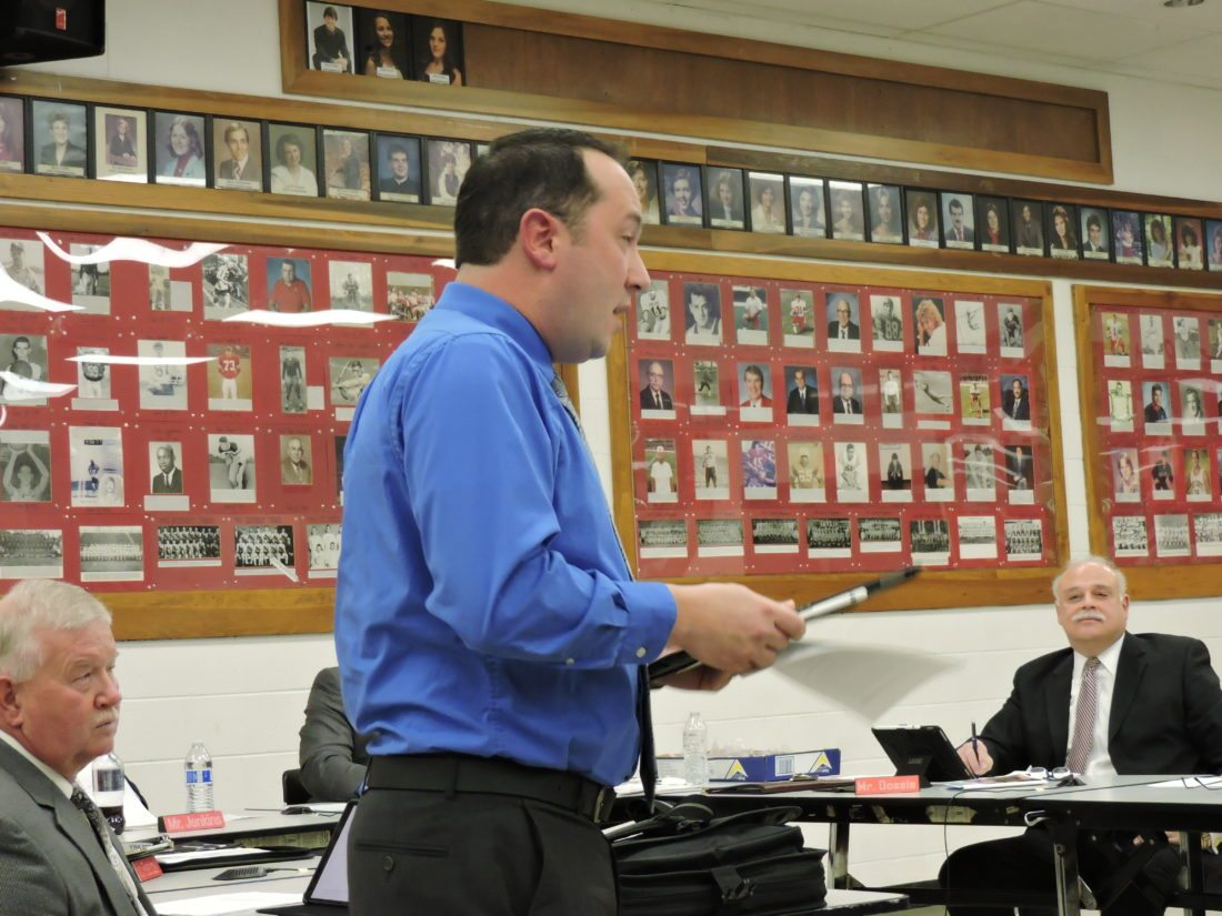 T-L Photo/DYLAN McKENZIE  Bellaire Middle School Principal Derrick McAfee speaks to the Board of Education on Monday. McAfee spoke about several grants that his school was recently awarded.