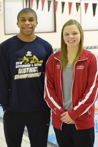 Martins Ferry's Jarrett Bolinger (left) and St. Clairsville's Maggie Marody will represent the Ohio Valley in the OHSAA Division II State Swimming Championship.