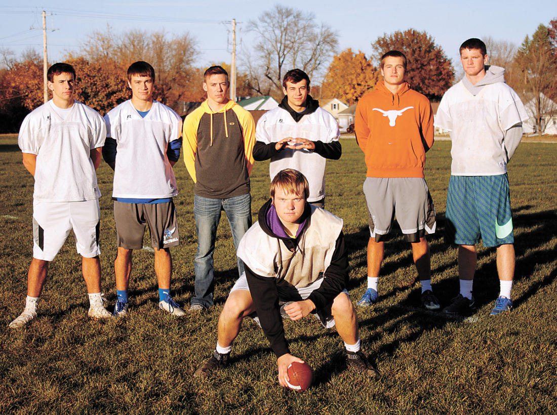 T-R PHOTO BY ADAM RING • Gladbrook-Reinbeck's potent aerial attack features a bevy of capable pass-catchers. Pictured behind starting center Jed Peterson are, from left: receivers Erik Knaack, Walker Thede and Matt Johannsen, quarterback Hunter Lott, fullback Gage Murty and receiver Matt Roeding.