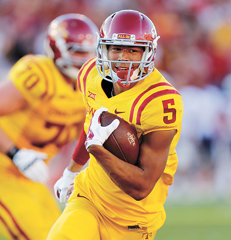 AP FILE PHOTO • Iowa State wide receiver Allen Lazard (5) jogs into the end zone untouched for the go-ahead touchdown against Toledo during this Oct. 11, 2014, game in Ames. Iowa state won 37-30.