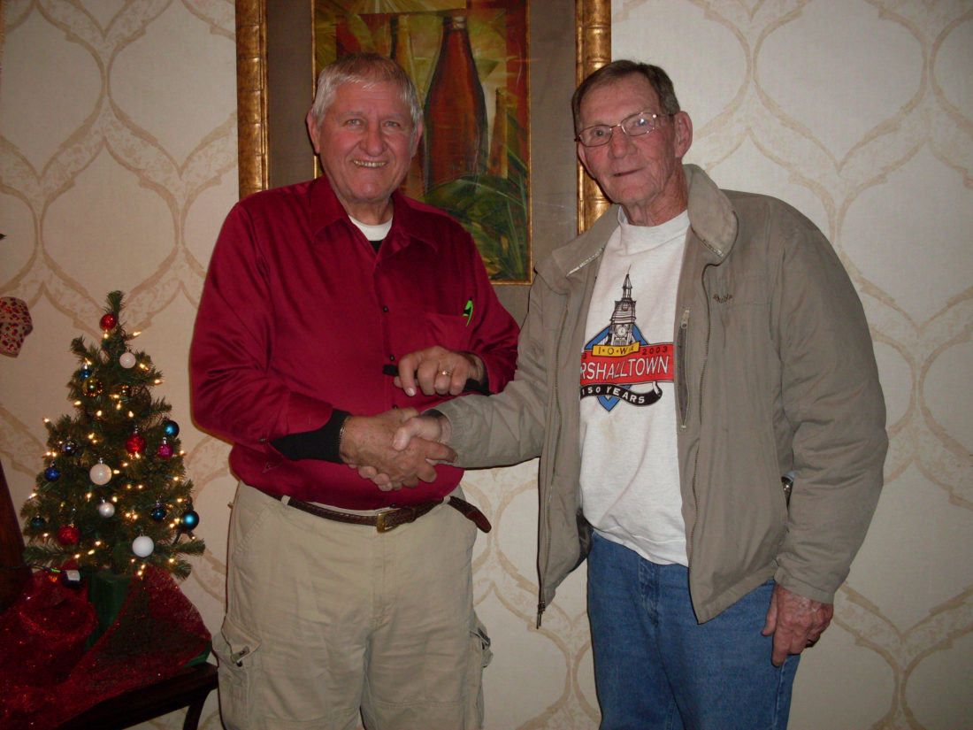 CONTRIBUTED PHOTO Kiwanis P.M. member Kenny Lamb, right, welcomes Keith Lambertson, a 50-year veteran of school bus driving, as he brings insight to the qualifications and changes in school bus driving over the years to the meeting.