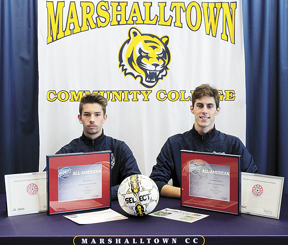 PHOTO PROVIDED • Marshalltown Community College sophomores soccer players Rafael Pereira, left, and Fernando Gutierrez were recently honored with selection to the National Soccer Coaches Association of America's All-American and all-East Region teams.