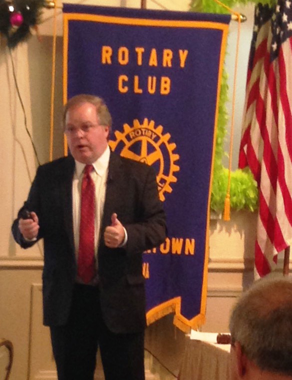CONTRIBUTED PHOTO Bruce Nuzum is the thumbs up as he gives an overview of the Iowa Area Development Group to the Marshalltown Rotary Club.
