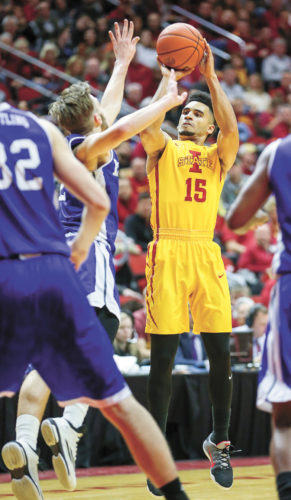 AP PHOTO • Iowa State guard Naz Mitrou-Long shoots a 3-pointer over Drake forward Billy Wampler during the first half of Saturday night's finale at the Hy-Vee Classic inside Wells Fargo Arena in Des Moines. Mitrou-Long made 8 3-pointers and scored a career-high 37 points in a 97-80 win.