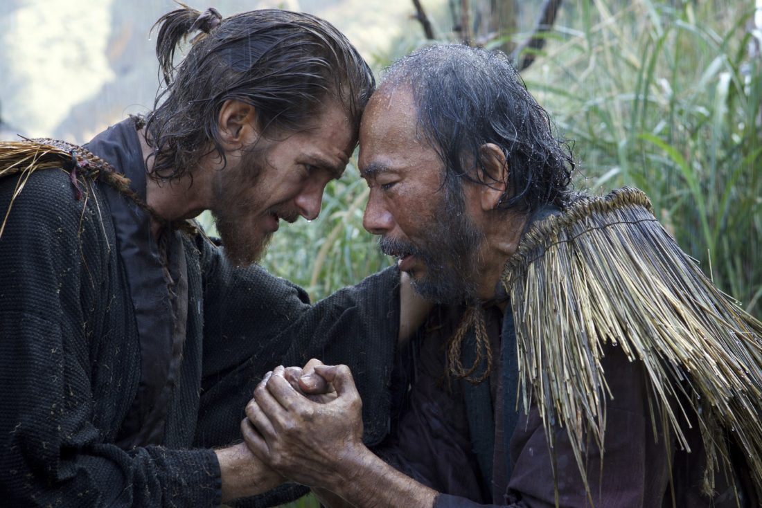 "AP PHOTO This image released by Paramount Pictures shows Andrew Garfield, left, and Shinya Tsukamoto in a scene from ""Silence."""