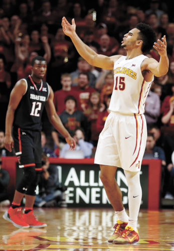 AP PHOTO • Iowa State guard Naz Mitrou-Long (15) celebrates at the end of the Cyclones' Big 12 Conference men's basketball game against Texas Tech, Friday at Hilton Coliseum in Ames. Mitrou-Long scored a team-leading 19 points as ISU defeated the Red Raiders 63-56.
