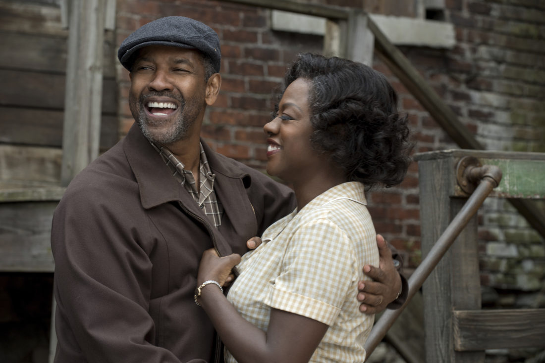 "AP PHOTO This image released by Paramount Pictures shows Denzel Washington, left, and Viola Davis in a scene from, ""Fences."""