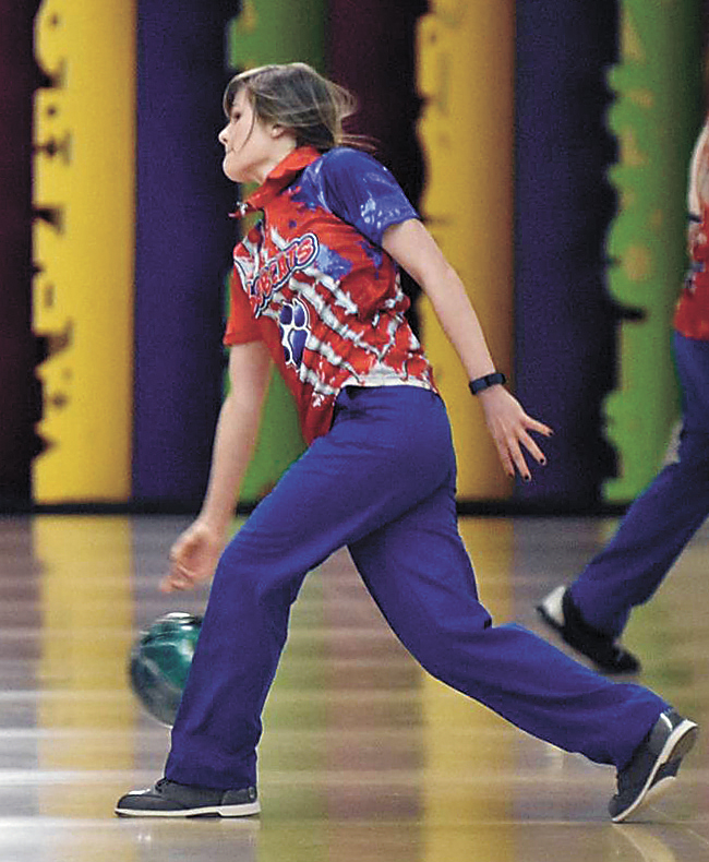 CONTRIBUTED PHOTO • Marshalltown's Haley Bell release the ball during Tuesday's CIML dual against Ottumwa at Totem Bowl in Marshalltown. Bell posted the Bobcats' second-best series of 326, but MHS was defeated by the visiting Bulldogs, 2,423-2,217.