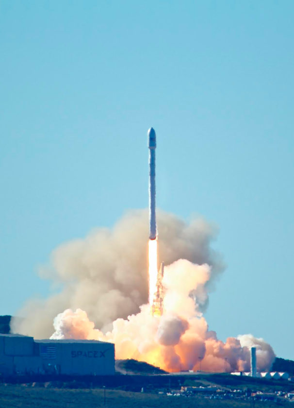 AP PHOTO Space-X's Falcon 9 rocket with 10 satellites  launches at Vandenberg Air Force Base, Calif. on Saturday.  The two-stage rocket lifted off  to place 10 satellites into orbit for Iridium Communications Inc.  About nine minutes later, the first stage returned to Earth and landed successfully on a barge in the Pacific Ocean.