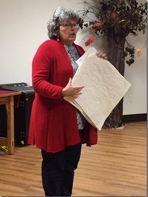 """CONTRIBUTED PHOTO Marilyn Kidd presented an informative program on batting entitled, """"Baffled by Batting"""" to the Central Iowa Quilt Society at its Jan. 3 meeting."""
