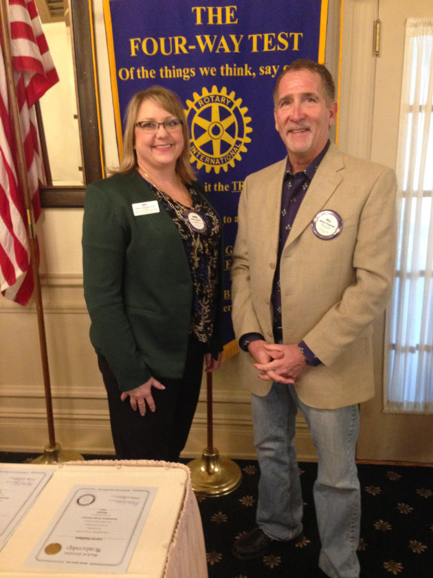 CONTRIBUTED PHOTO MCC Provost Robin Lilienthal with Rotary Club President Bill Fitzgerald. Lilienthal presented a program on one of Marshalltown's greatest assets.