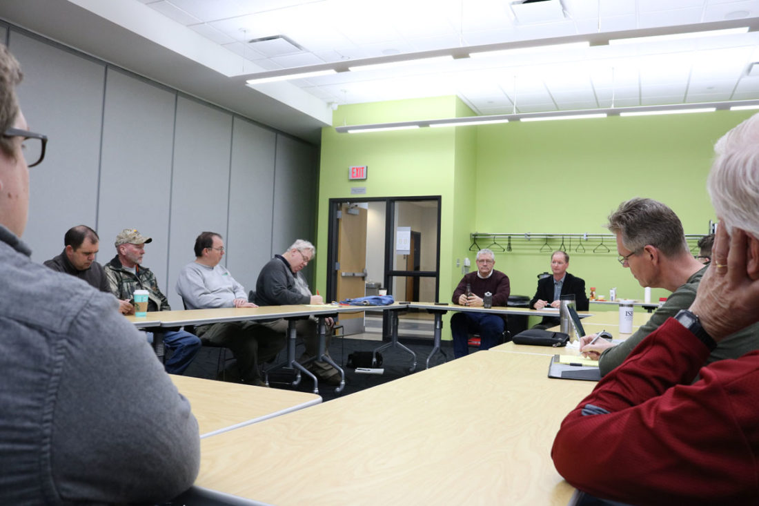 T-R PHOTO BY ADAM SODDERS State Rep. Mark Smith and state Sen. Jeff Edler discussed a myriad of topics at Saturday morning's Marshalltown Education Association legislative forum. Mental health, tax credits and workers' compensation were among the issues touched upon.