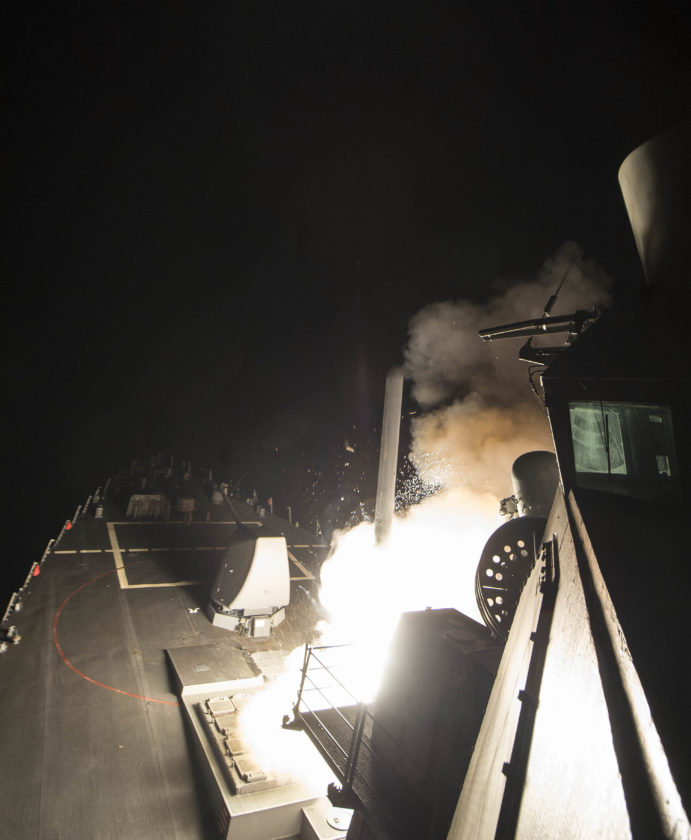 AP PHOTO In this image provided by the U.S. Navy, the USS Ross (DDG 71) fires a tomahawk land attack missile Friday, from the Mediterranean Sea. The United States blasted a Syrian air base with a barrage of cruise missiles in retaliation for this week's gruesome chemical weapons attack against civilians.