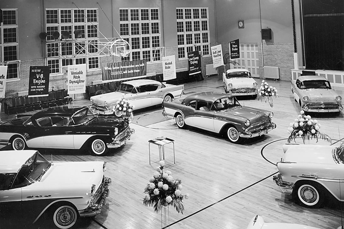 "CONTRIBUTED PHOTO Pictured are new 1957 Buicks on display at the Veterans Memorial Coliseum in Marshalltown as part of a Wise Buick Co. sales promotion. Not only did the historic facility serve as host to auto shows, it featured community college and high basketball games, concerts, family events and KFJB'S ""Barn Dance"" program."