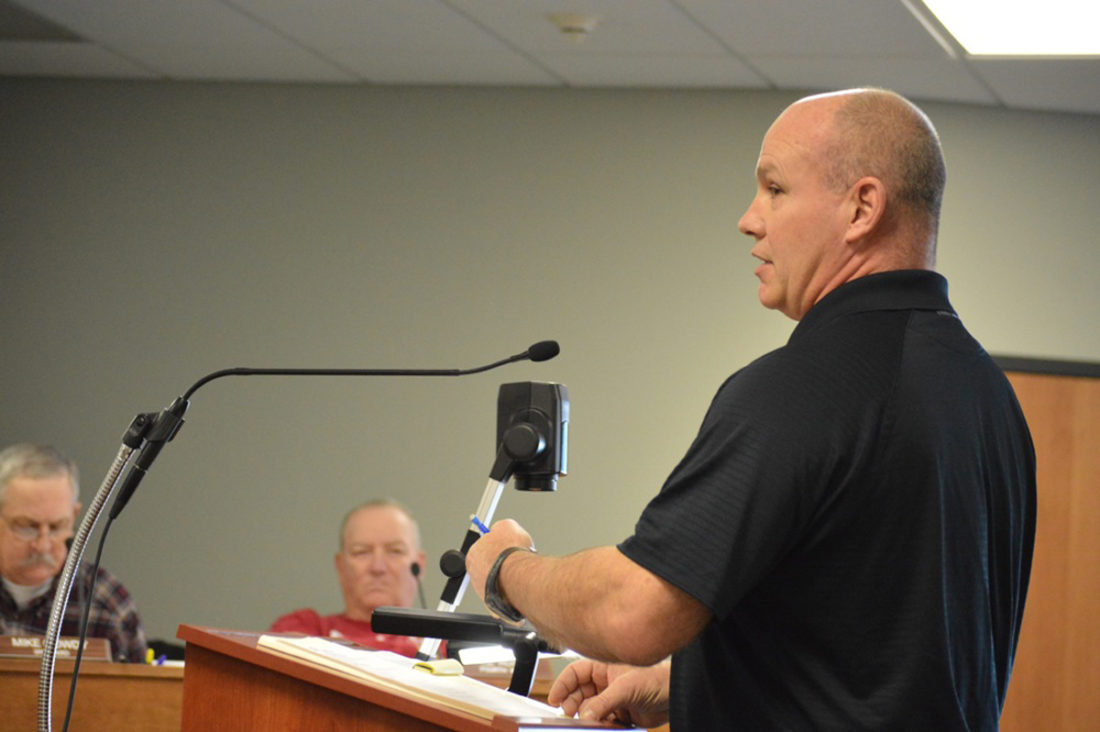 T-R FILE PHOTO Monte Eaton of Marshalltown is pictured making a presentation to the Marshalltown City Council late last year. He requested permission to sever his property from the city. Looking on from left is third ward councilor Mike Gowdy and fourth ward councilor Al Hoop.